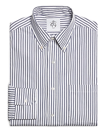 White and Navy Stripe Button-Down Shirt