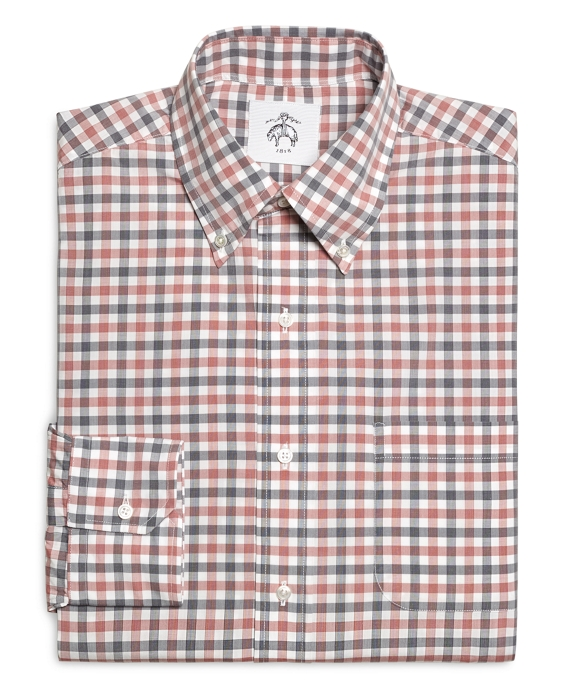 Red Navy and White Check Button-Down Shirt Red-Navy-White