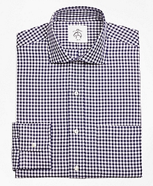 Navy and White Check Spread Collar Shirt