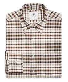 Three-Color Check Button-Down Shirt