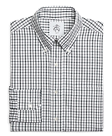 Grey and White Tattersall BUTTON-DOWN Shirt