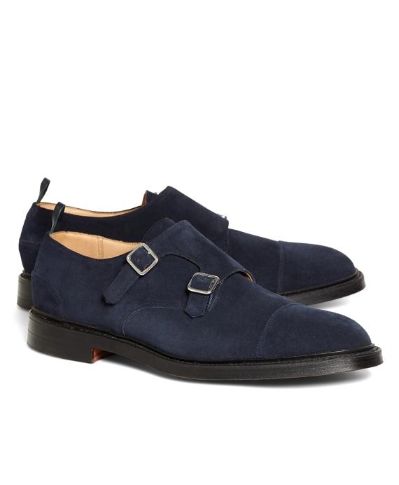 1537ab27a24a Men s Black Fleece Navy Suede Double Monk Strap Shoes