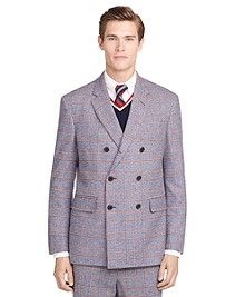 Double-Breasted Plaid Sport Coat