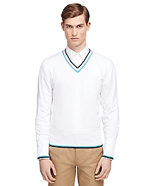 Two-Color Tipped V-Nck Sweater