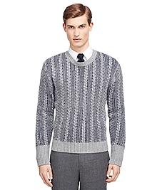 Cable Stripe Crewneck Sweater