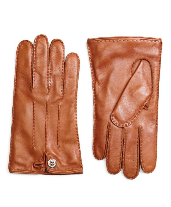 93c55cf11c Men's Black Fleece Cognac Leather Gloves   Brooks Brothers