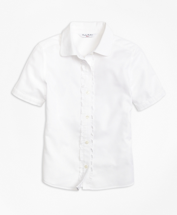 Girls Non-Iron Short-Sleeve Oxford White