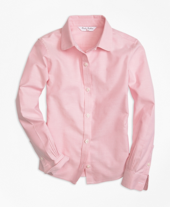Girls Non-Iron Long-Sleeve Oxford Light Pink