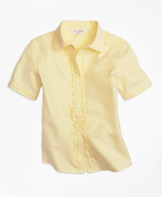Girls Non-Iron Short-Sleeve Oxford Yellow