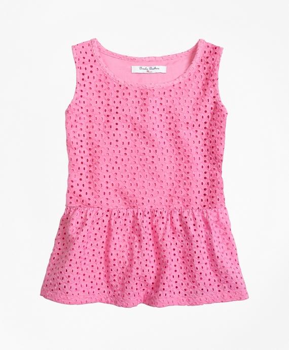 Girls Cotton Eyelet Blouse Pink
