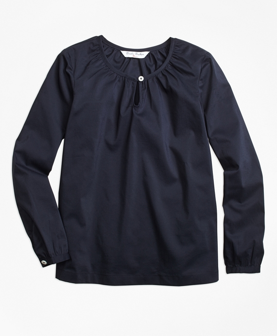 Girls Cotton Peasant Blouse Navy