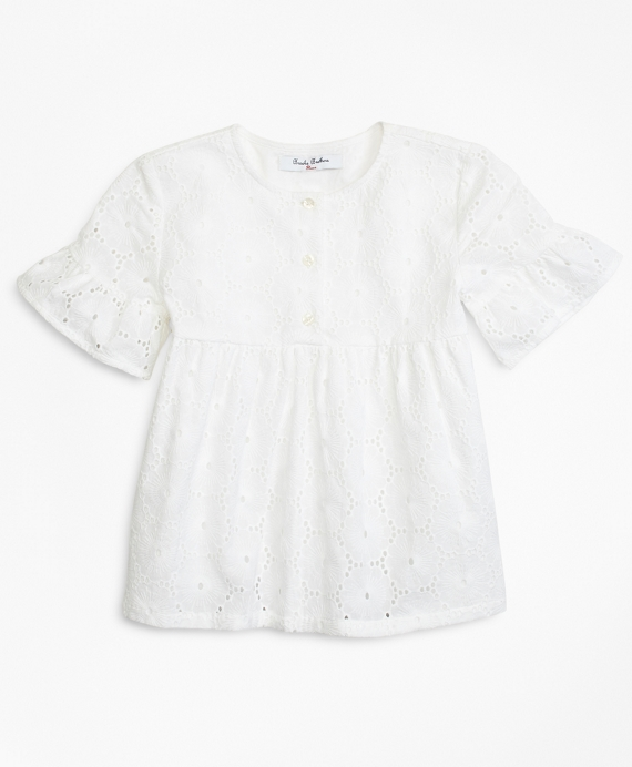 Girls Cotton Eyelet Blouse White