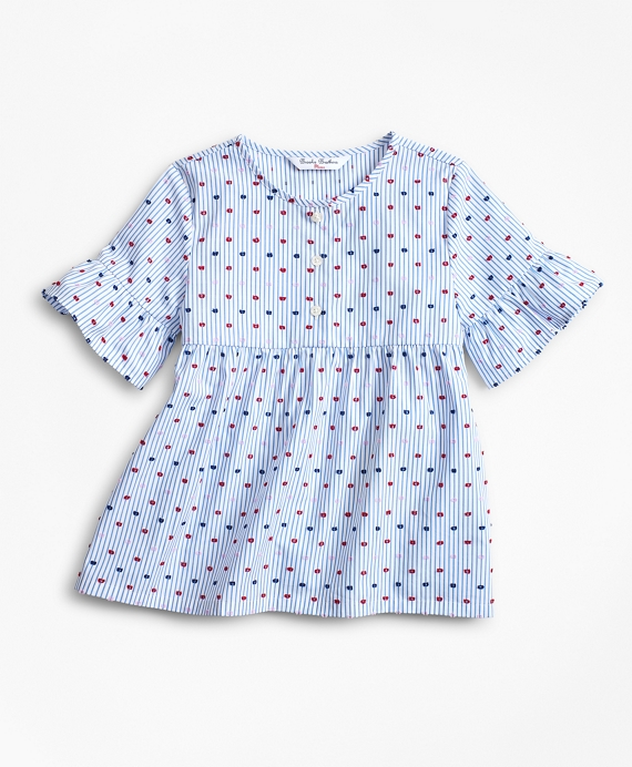 Girls Cotton Ruffle Blouse Blue-White