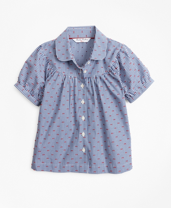 Girls Cotton Gingham Bib Navy