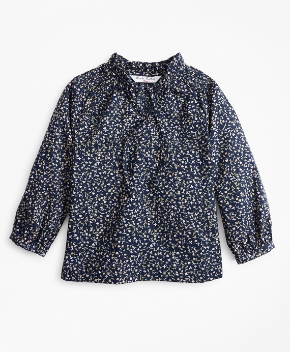 Girls Floral Peasant Blouse Navy