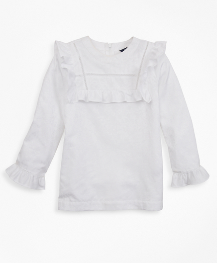 Girls Cotton Long-Sleeve Ruffle Blouse