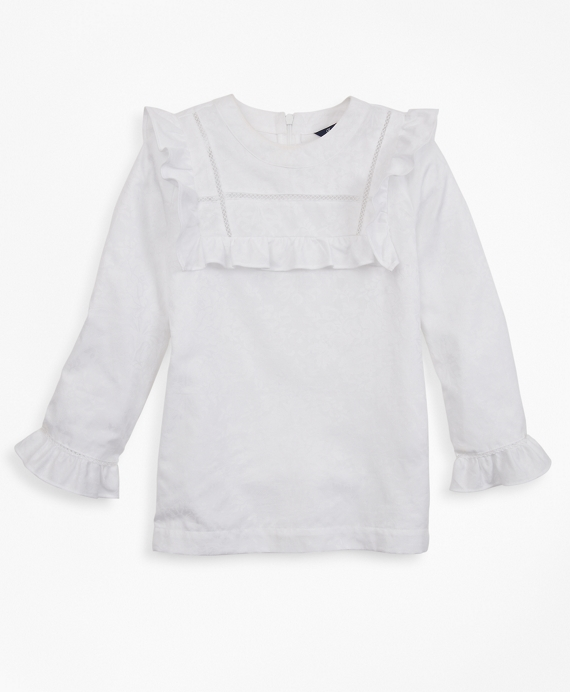 Girls Cotton Long-Sleeve Ruffle Blouse White