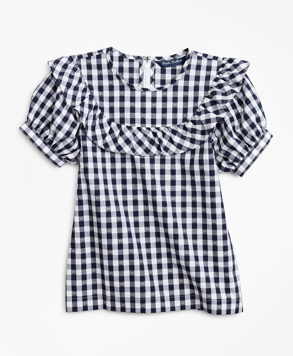 Girls Cotton Short-Sleeve Gingham Blouse Navy-White