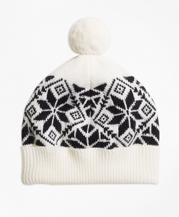 Girls Wool Blend Snowflake Fair Isle Pom Hat White-Black