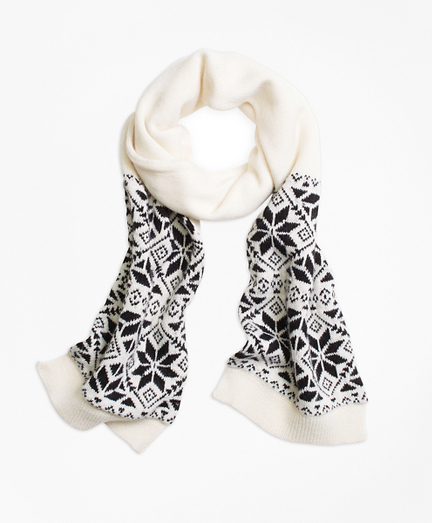 Girls Wool Blend Snowflake Fair Isle Scarf