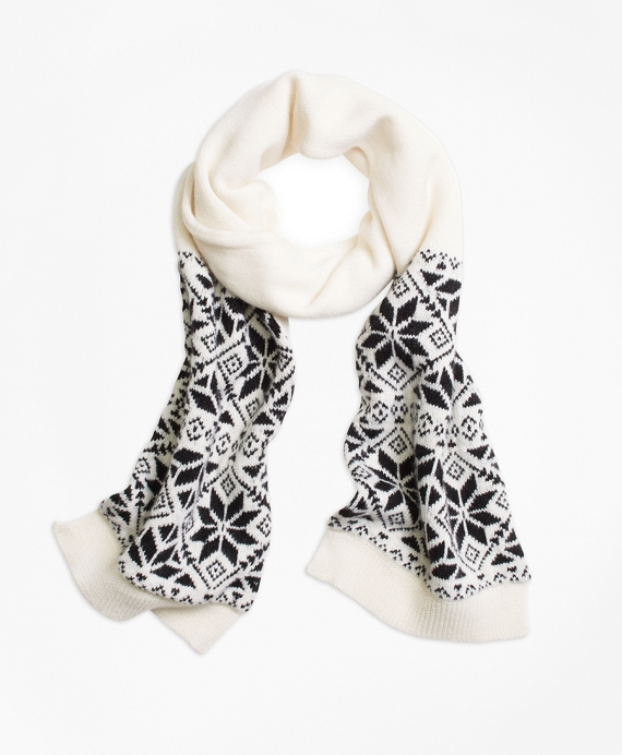 Girls Wool Blend Snowflake Fair Isle Scarf White-Black