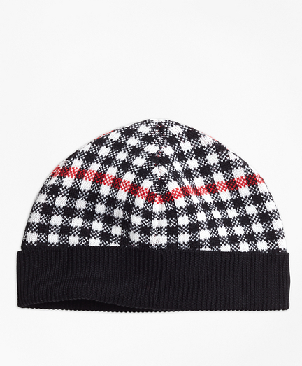 Girls Wool Blend Windowpane Hat