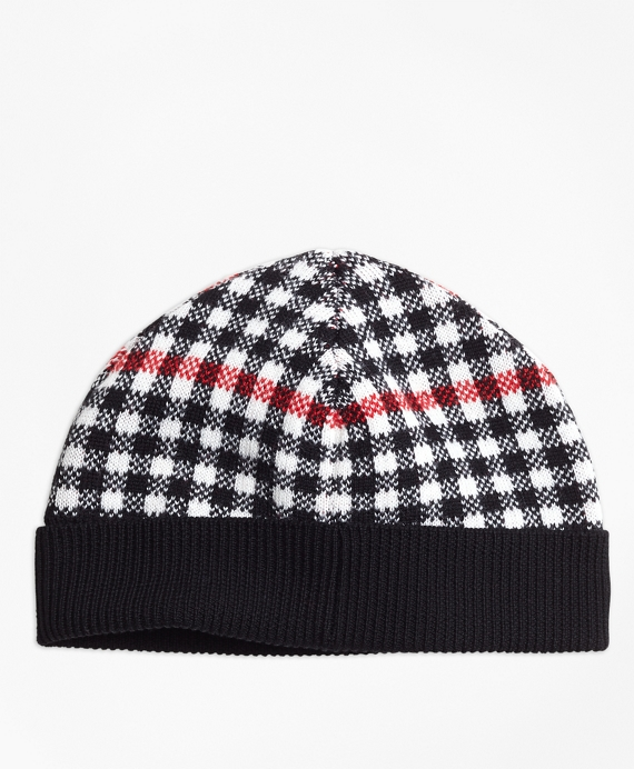 Girls Wool Blend Windowpane Hat Black-Red