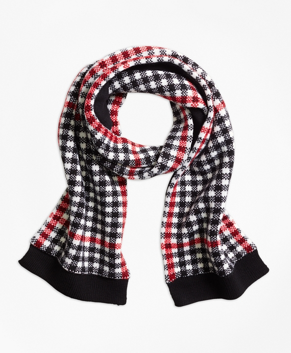 Girls Wool Blend Windowpane Scarf Black-Red