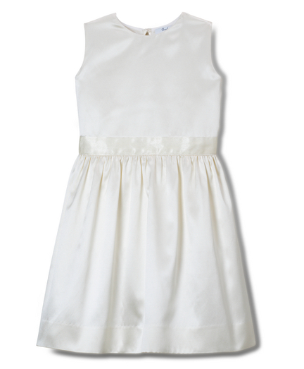 Girls Solid Silk Cotton Satin Dress