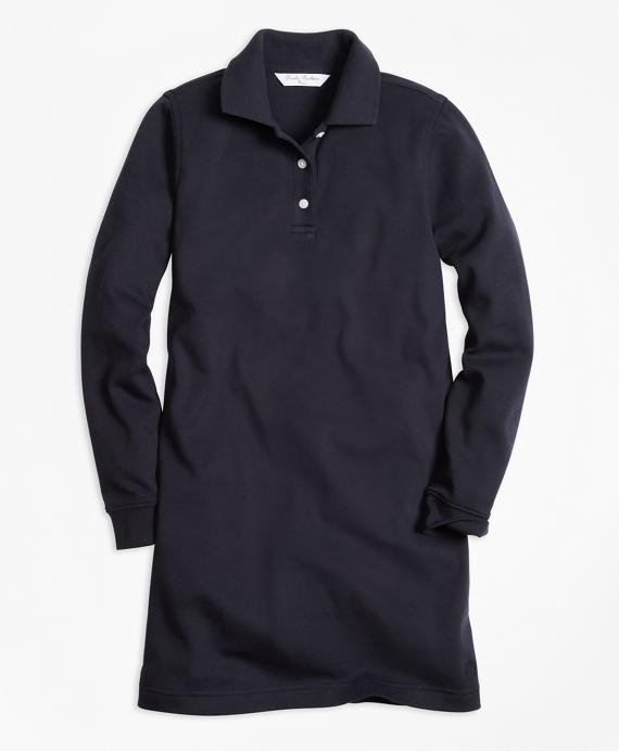 Girls Long-Sleeve Polo Dress Navy