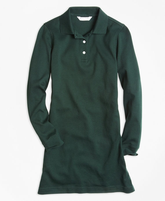 Girls Long-Sleeve Polo Dress Hunter Green