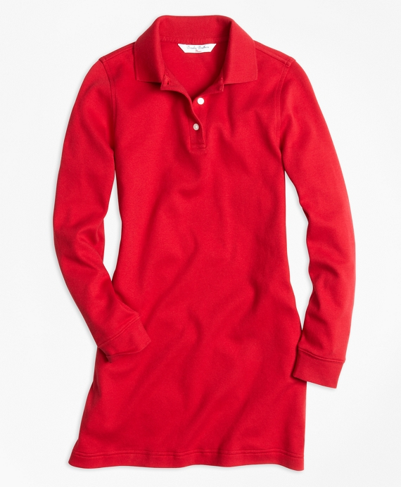 Girls Long-Sleeve Polo Dress Red