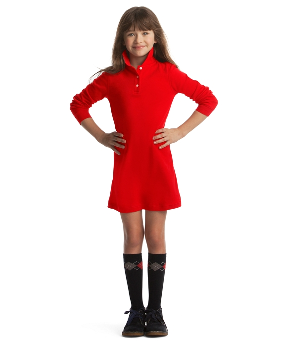Girls Red Long Sleeve Polo Dress Brooks Brothers