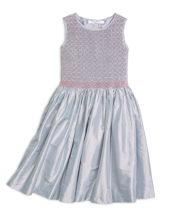 Girls Sleeveless Smocked Dress Grey-Pink