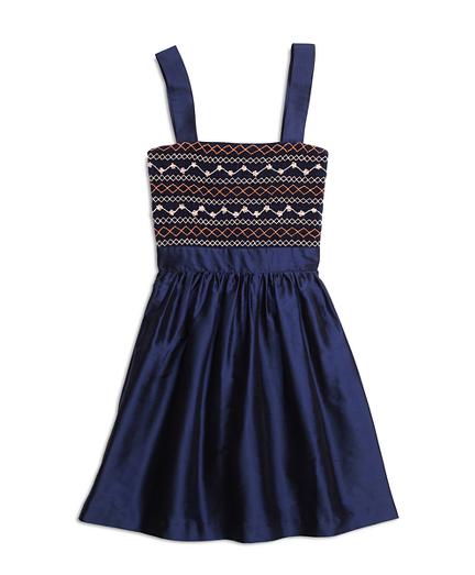 Girls Silk Sleeveless Smocked Dress