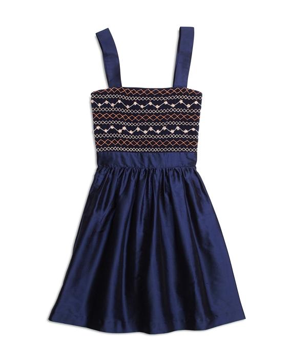Girls Silk Sleeveless Smocked Dress Navy
