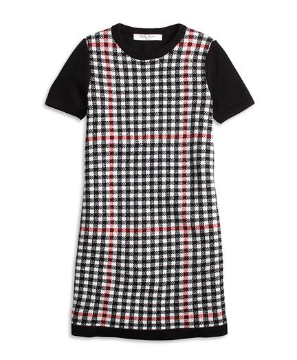 Girls Short-Sleeve Windowpane Sweater Dress