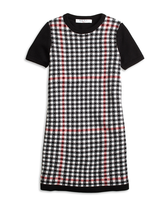 Girls Short-Sleeve Windowpane Sweater Dress Black-Red