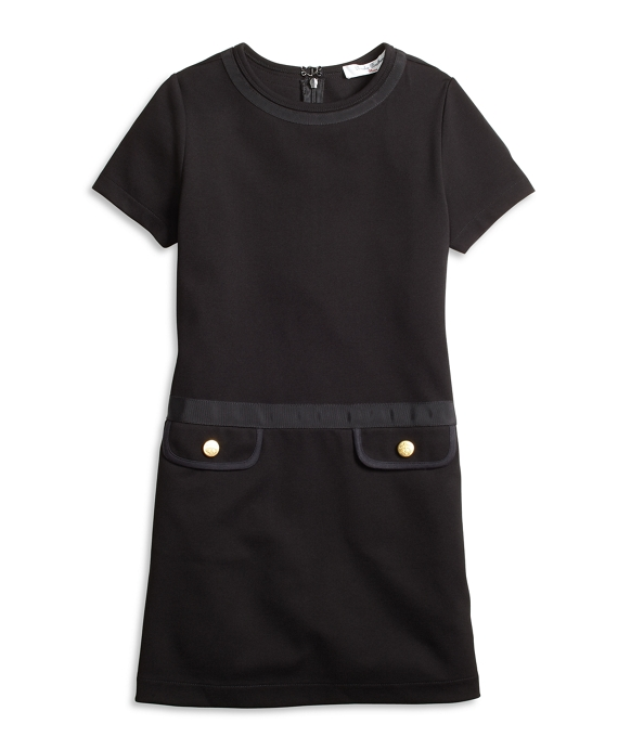 Girls Knit Ponte Dress Black