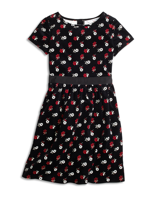 Girls Cotton Floral Dress Black Multi