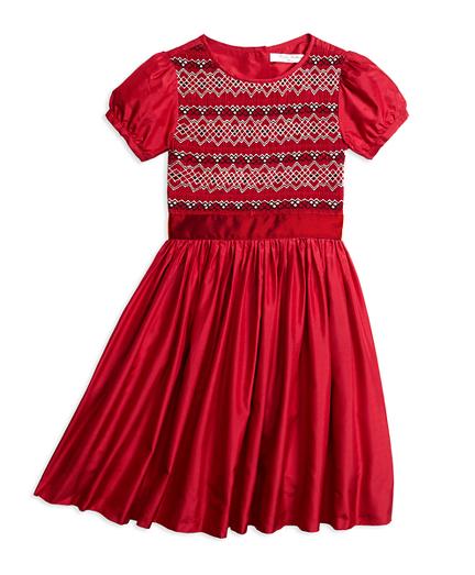 Short-Sleeve Silk Smocked Dress