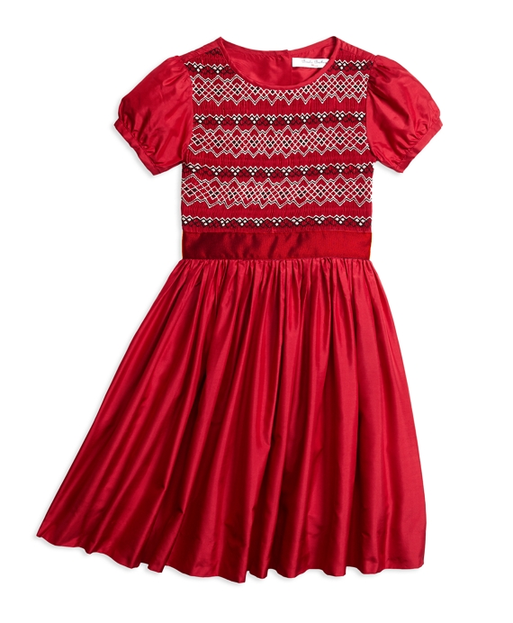 Girls Short-Sleeve Silk Smocked Dress Red