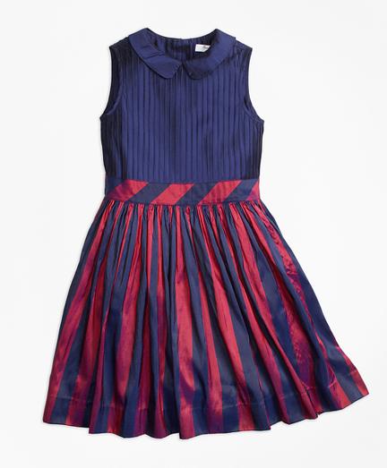 Girls Sleeveless Stripe Silk Dress