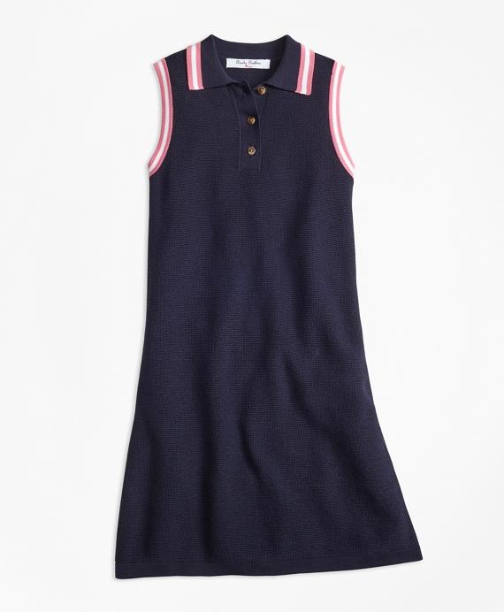 Girls Cotton Polo Sweater Dress Navy