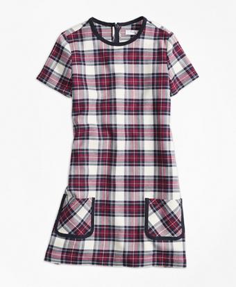 Short-Sleeve Twill Plaid Dress