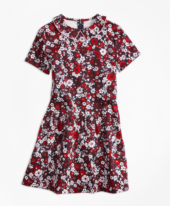 Girls Short-Sleeve Cotton Sateen Floral Dress Red-Multi