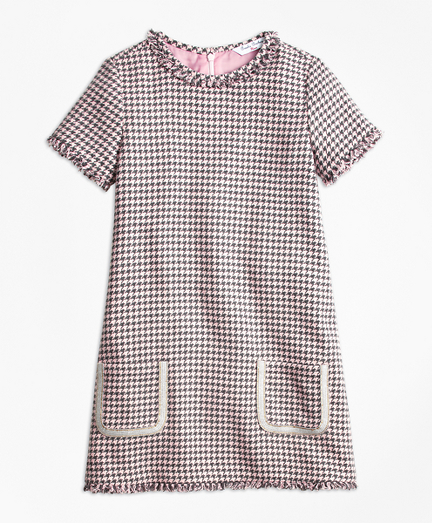 Cotton Blend Houndstooth Tweed Dress