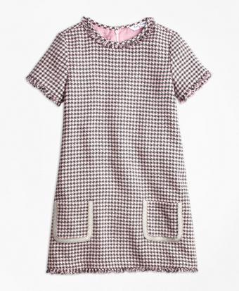 Girls Cotton Blend Houndstooth Tweed Dress