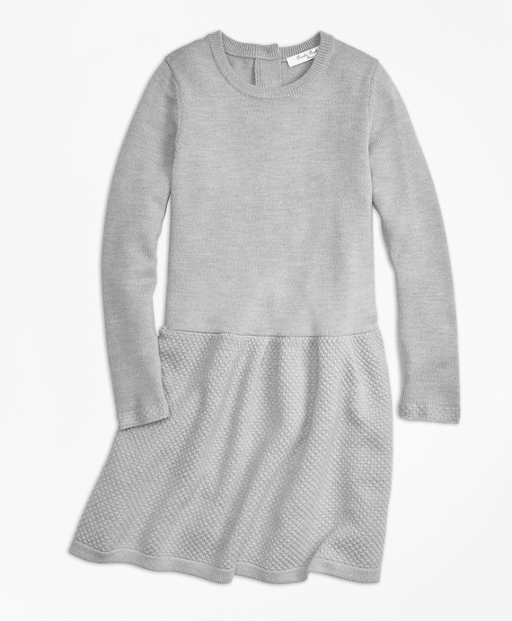 Girls Merino Wool Long Sleeve Dress Heather-Grey