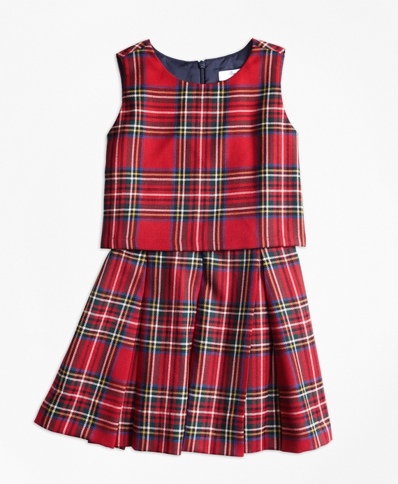 Girls Holiday Tartan Dress Red-Multi